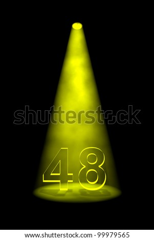 Number 48 illuminated with yellow spotlight on black background - stock photo