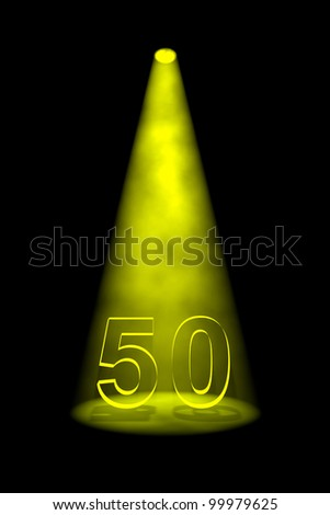 Number 50 illuminated with yellow spotlight on black background - stock photo