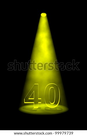 Number 40 illuminated with yellow spotlight on black background - stock photo