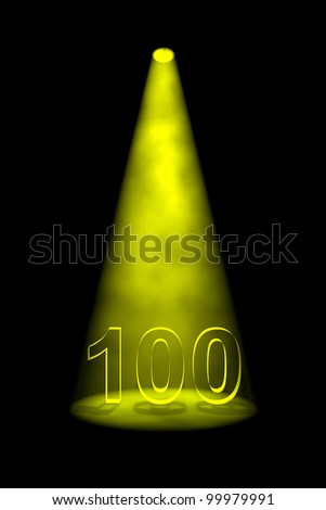 Number 100 illuminated with yellow spotlight on black background - stock photo