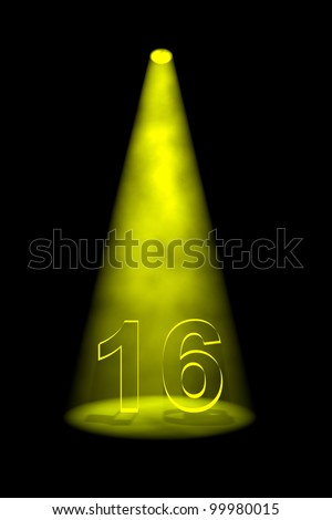 Number 16 illuminated with yellow spotlight on black background - stock photo