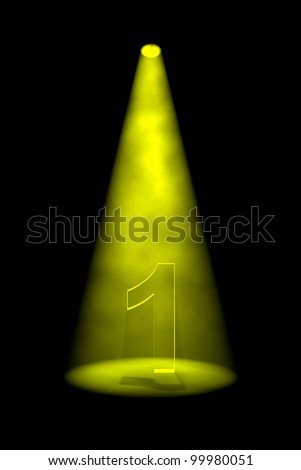 Number 1 illuminated with yellow spotlight on black background - stock photo
