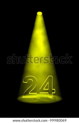 Number 24 illuminated with yellow spotlight on black background - stock photo