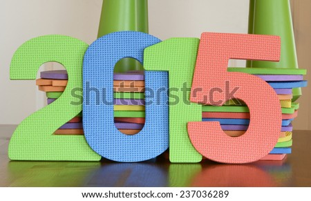 Number 2015 in colorful foam toys - stock photo