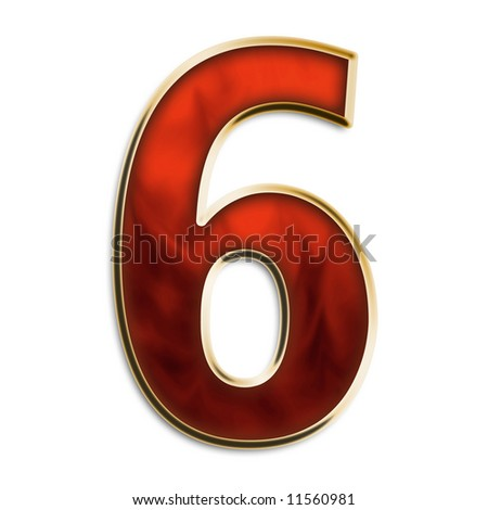 Number 6 in fiery red & gold isolated on white series - stock photo