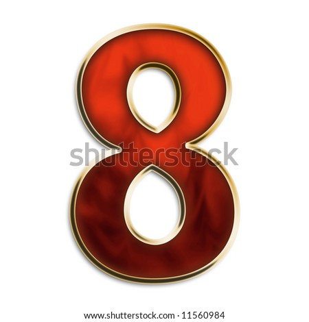 Number 8 in fiery red & gold isolated on white series - stock photo