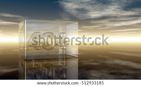 number 404 in glass under cloudy sky - 3d illustration