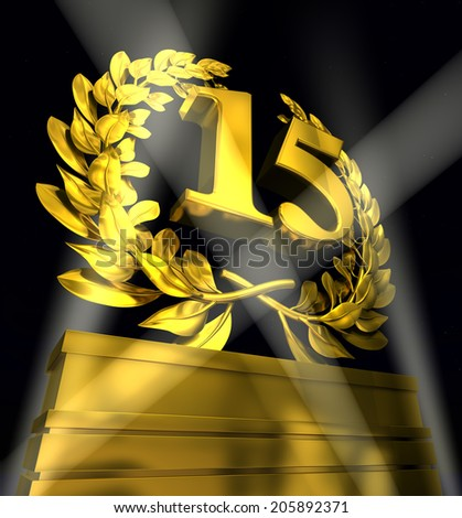 number15 in golden letters at a pedestrial with laurel wreath - stock photo