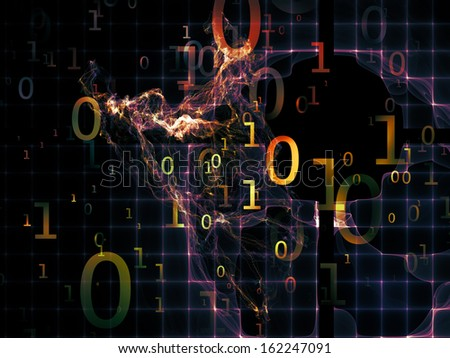 Number in Space series. Abstract composition of numbers, fractal textures and lights suitable as element in projects related to computers, mathematics, science and education - stock photo