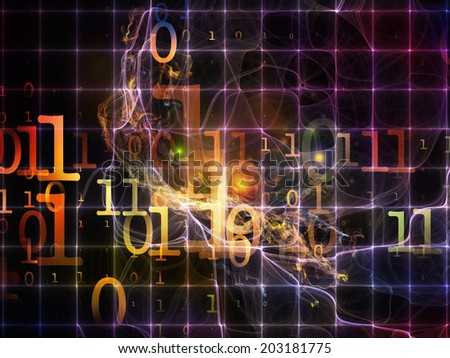 Number in Space series. Design composed of numbers, fractal textures and lights as a metaphor on the subject of computers, mathematics, science and education - stock photo