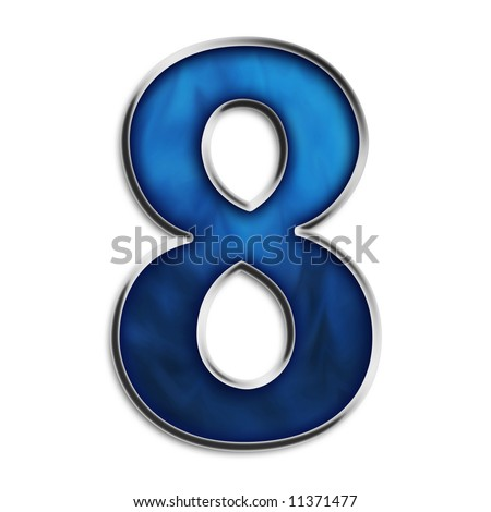 Number 8 in steel smokey blue isolated on white - stock photo
