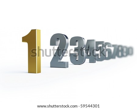 number 1 isolated on a white background - stock photo