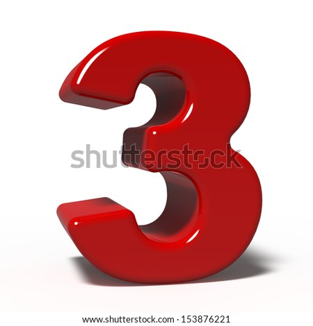 number 3 isolated on white background