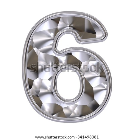 number 6 isolated on white background - stock photo