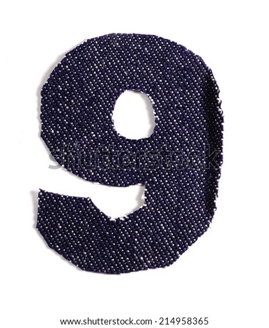 Number 9. Jeans alphabet Isolated on White. Handmade font.