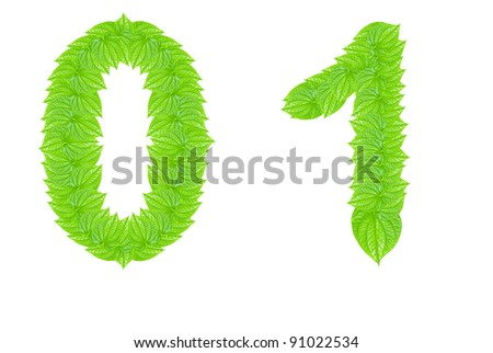 Number made from green leafs with number 0 to 1