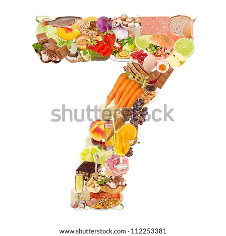 Number 7 made of food isolated on white background - stock photo