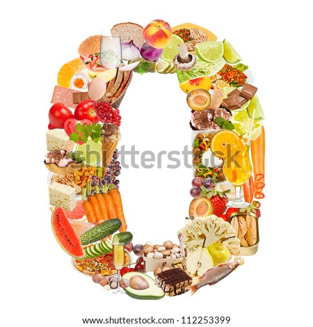 Number 0 made of food isolated on white background - stock photo