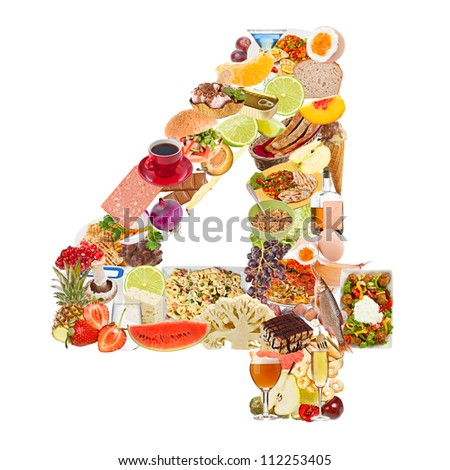 Number 4 made of food isolated on white background - stock photo