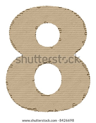 number 8 made of torn cardboard - stock photo