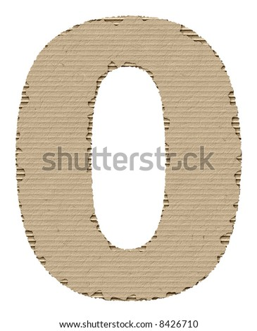 number 0 made of torn cardboard - stock photo