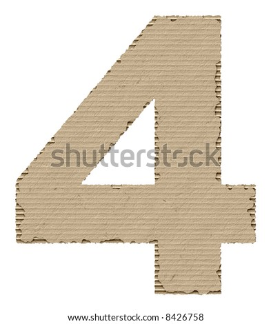 number 4 made of torn cardboard - stock photo