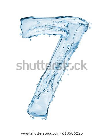 Number 7 made with a splashes of water isolated on white background