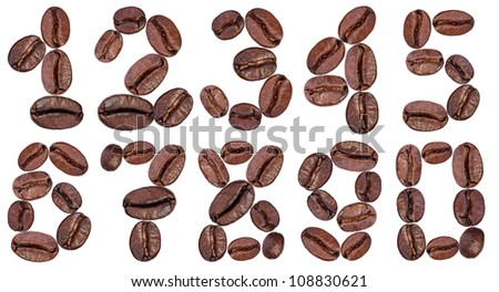 number made with coffee beans on a white background - stock photo