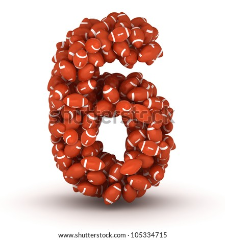 Number 6, making from american football balls - stock photo