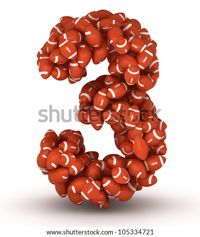 Number 3, making from american football balls - stock photo