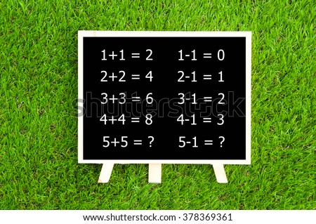 number mathematics on the blackboard with green grass