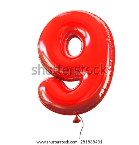 number nine - 9 balloon font - stock photo