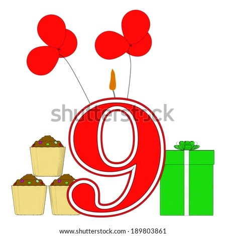 Number Nine Candle Showing Party Decorating Or Birthday Celebrating - stock photo