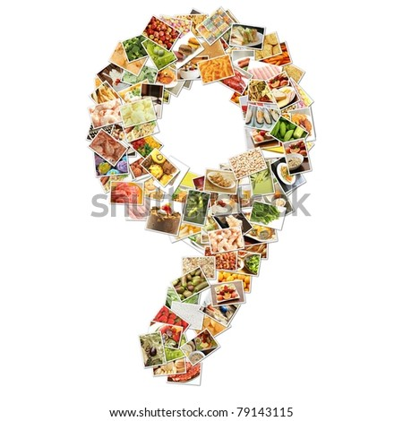 Number 9 Nine with Food Collage Concept Art - stock photo
