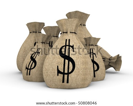 number of bags stuffed by money - stock photo