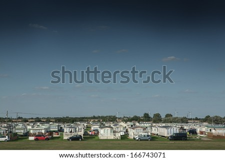 Number of caravans in caravan park at St Osyth, England - stock photo