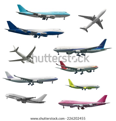 Number of different kind of aircrafts - stock photo