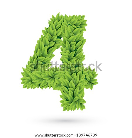Number 4 of green leaves - stock photo