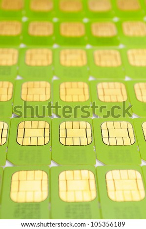 Number of green SIM cards. May be used as background - stock photo