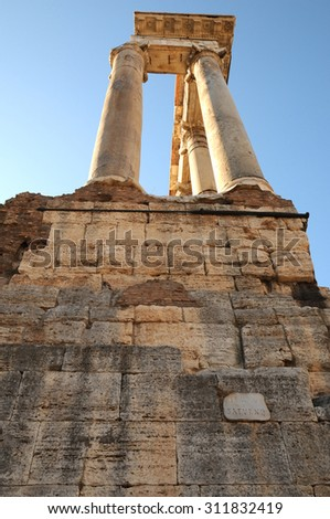 Number of ruined columns standing in the Roman Forum, Rome, Italy - stock photo