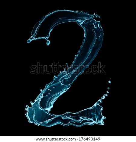 Number 2 of water splashes isolated on black background - stock photo