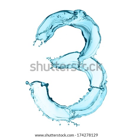 Number 3 of water splashes isolated on white background