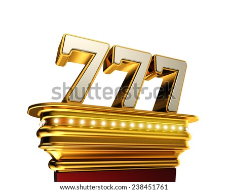 Number 777 on a golden platform with brilliant lights over white background - stock photo
