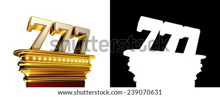 Number 777 on a golden platform with brilliant lights over white background with alpha map - stock photo