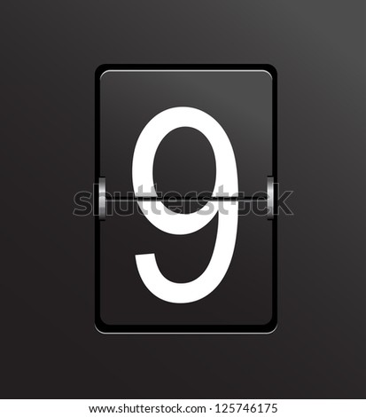 Number 9 on black, panel background. - stock photo