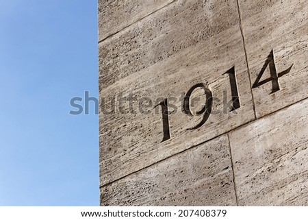 Number 1914 on monument for the dead of the First World War on the Rathausplatz in Hamburg, Germany in September 2011. - stock photo