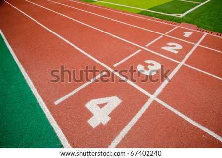 number 1 2 3 on race track in stadium - stock photo