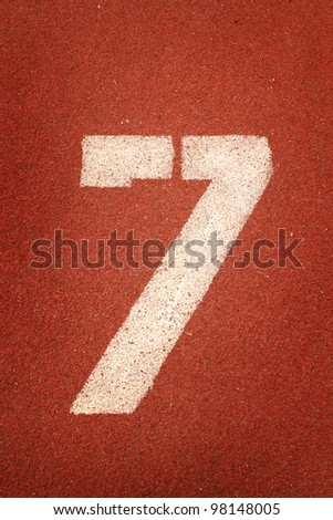 Number 7 on running track