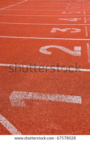 Number on the start of a running track in Stadium - stock photo