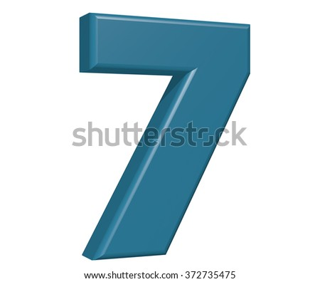 Number 7 on white background